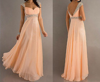 Fashion New Sweetheart Cap Sleeve Beaded A-line Chiffon Prom Dress