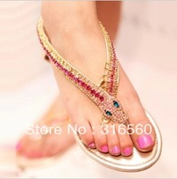 Best Selling!!2013 snake chain rhinestone sandals white fashion flat flip flops Free Shipping