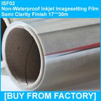 "Non Waterproof Inkjet Film Semi Clarity Finish 17""*30m"