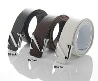 Fashion Faux Leather Premium Z Shape Metal Mens strap man Ceinture Buckle Belt men's belt 3 colors