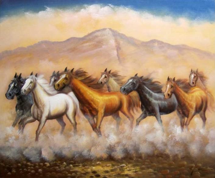 Wild Horses Mustang Herd Western Galloping Oil Painting