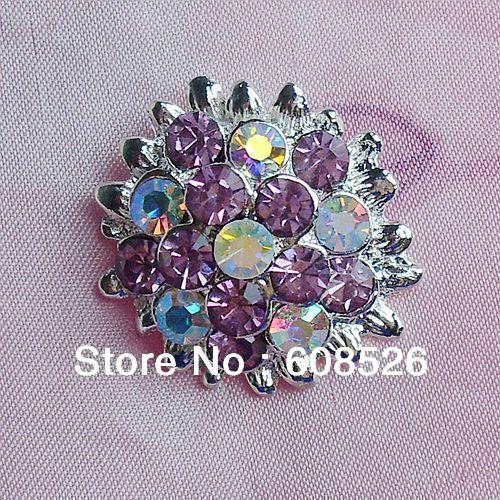 Free Shipping 50pcs/pack 22mm Round Rhinestone Embellishment shank purple Crystal Cluster button, item no.: ART191(China (Mainland))
