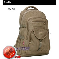 Vintage aerlis men's canvas backpack mountaineering bag travel bag 9118 khaki