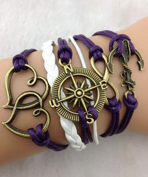 3pcs Restore ancient ways anchor bracelet infinity bracelet, Marine compass bracelet, have mutual affinity bracelet, heart-869(China (Mainland))
