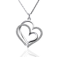 Free shipping 2013 new fashion jewelry plated 18K platinum inlay Czech diamond double heart pendant necklace 18K N498 best gift