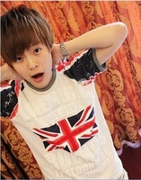 2013 short-sleeve T-shirt les t slim paint m word flag raglan sleeve male short-sleeve