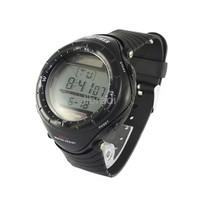 1pcs Power Solar Energy Water Resistance Sport Watch Data Stopwatch Alarm Clock Backlight  0405 Black