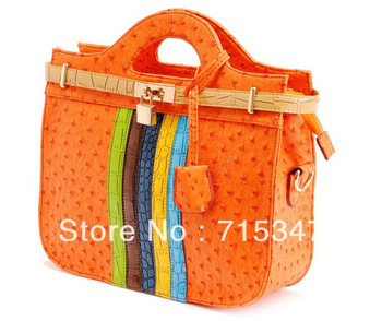 women's handbag 2013 women's spring handbag ostrich grain crocodile pattern color block candy color handbag, Free Shipping ,G10