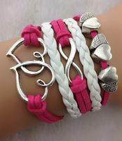 3pcs Infinity bracelet- heart to heart bracelet bracelet,antique silver,pink bracelet charm bracelet 661 Min order 10$!