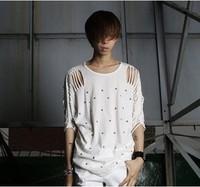 2014 male summer personality costume fashion cutout rhinestones short-sleeve T-shirt