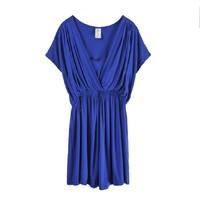 Fashion women's summer plus size summer skirt short-sleeve three-color female one-piece dress