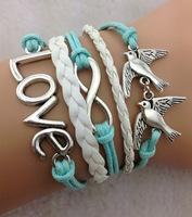3pcs Infinity love bracelet - two birds bracelet,antique silver,mint white bracelet for girls,vintage style 708 Min order 10$!