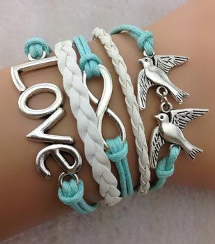3pcs Infinity love bracelet - two birds bracelet,antique silver,mint white bracelet for girls,vintage style 708 Min order 10$!(China (Mainland))