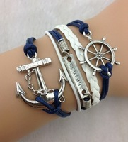 3pcs Rudder, Courage & Anchor Charm Bracelet in Silver - Wax Cords and Leather Braid Bracelet - Friendship Gift 914