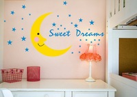 new sale fashion Kid's bedroom cartoon moon landscape pvc stickers mirror on the children room wall free shipping