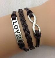 3pcs Infinity bracelet,love bracelet,infinity love,wax cords,braid leather,antique silver,ZA276 Min order 10$!