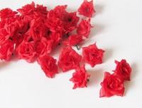 50PCS 4cm Red DIY Brooch Headwear Ring Artificial Silk Simulation Rose Flower Head Wedding Christmas Party  6 Colors FREE SHIP