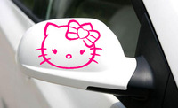1 Pair Free Shipping Hello Kitty Removable Art Vinyl Car Rearview Mirror Sticker Nick Conceal Cover Decoration Decal C101