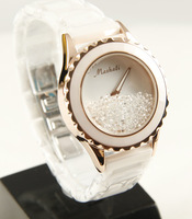 Ceramic watch female white ceramic crystal quartz diamond rhinestone the whole network