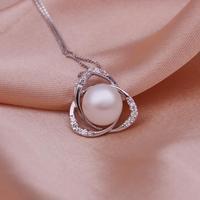 Free shipping, platinum plated Pearl Pendant, New Zircon Pendant Wholesale platinum jewelry  PLP004