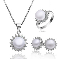 Free shipping High quality Pearl jewelry Set, Fashion hot sale platinum plated Zircon Set Wholesale jewelry PLS002
