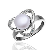 Platinum Plated Pearl Rings Made With Zircon Rings Wholesale Fashion Jewelry PLR004 Free Shipping
