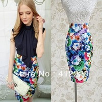 2013 pink doll exclusive high waist sexy sheath elegant colorful flower print slim pencil party ladies women's skirt