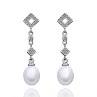 Free Shipping White Gold Plated Pearl Earrings Made With Zircon Earrings,Wholesale Fashion Jewelry PLE022