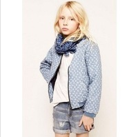 new arrival girls winter fashion blue cotton coat with floral girls warm outerwear kids clothes childrens jacket
