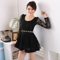 Women's spring and summer sweet princess dress lace cutout bow ruffle bottom expansion one-piece dress