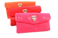 Factory Sale Women Fashion High quality Leather Leopard Style Candy Color Clutch Wristlets Messenger Bag Free Shipping pg-364