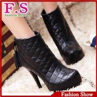 Fashion women ankle boots tassel shoes sexy thin high heels platform zipper snow boots XB038 european size 34-39 free shipping
