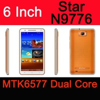 "Star Note2 N9776 MTK 6577 Dual core Android 4.0 6"" INCH FREE Film 6577 3G phone Pad mtk6577 SG Free Shipping"