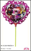 free shipping 14inch monster high school foil balloon within stick, stick set balloon. aluminium foil balloon ,size 36x36cm