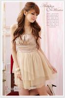 2013 women's princess clothes banquet bridesmaid tube top creased gauze formal dress