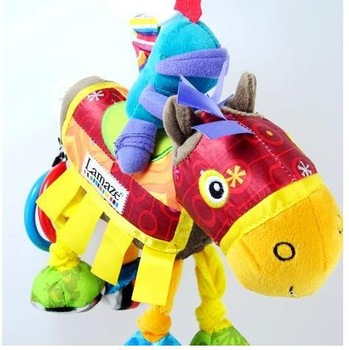 2013 Hot sales promotion Lamaz e knight and horse plush educational bed bell toy,yellow lamaze bed hang/bell baby mobile toy37