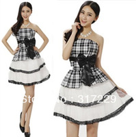 New Fashion Woman Korean Style Black and White Plaid Bow Sleeveless Short Evening Party Dress FZ077