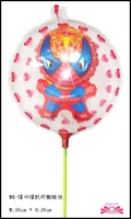 free shipping: 15.5inch ball in ball spiderman foil balloon within stick, stick set balloon,size 39x39cm