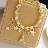 mix order) The new stars flowers hearts poker BDSM Eiffel Tower Crystal Bracelet female TB-0032