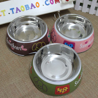 Quality stainless steel pet bowl imitation porcelain bowl 2 1 set dog dishes water bowl dog bowl cat bowl