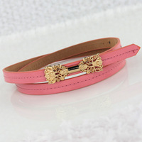 Bow fashion women's metal decoration all-match neon color chain thin belt