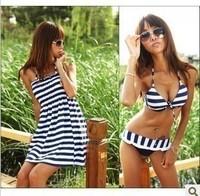 High Quality C/D/E Cup Navy Zebra Striped Sexy Women`s Plus Size XL/XXL Lady Swimwear 3pcs/set