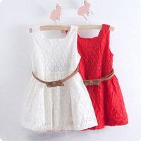 Retail 2013 New children's clothing summer red/white  lace  summer princess dress With belt fashion evening dresses for children