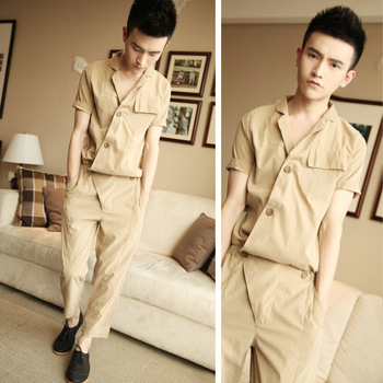 2013 summer male hip-hop costume tooling coverall cotton male 100% community service male casual hiphop clothing