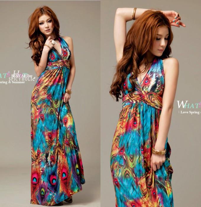 2014 new hot Brand designer Promotions cozy fashion women clothes Lace Chiffon Women Dress Bohemian exotic paint Halter dress(China (Mainland))