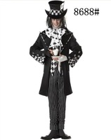 On Sale High Quality Adult  Advantage Men Mad Hatter Black and White For Halloween Carnival Fitout Cosplay Costume