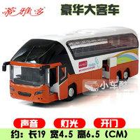 Alloy car luxury bus big bus model of the bus voice belt
