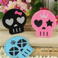 Free shipping /3pcs/set /Lovely three colours skulls garment embroidery patches DIY accessories/ wholesale