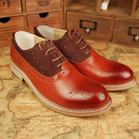Fashion cutout breathable shoes bullock fashion vintage retro color block finishing genuine leather carved leather male