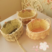Fashion plaid storage basket princess bow cosmetics storage basket small objects storage basket beightening basket